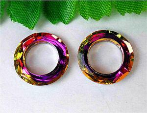 2Pcs 13x3mm Faceted Colourful Titanium Crystal Donuts Pendant Bead AP27307