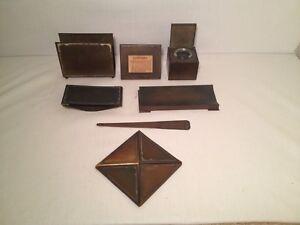 Vintage Arts & Crafts Silver Crest Sterling Decorated Desktop Set