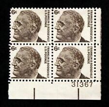 US Plate Blocks Stamps #1284 ~ 1966 FRANKLIN D. ROOSEVELT 6c Plate Block MNH