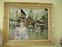 Francois Gerome Oil Painting Lady at Place du Tertre Ornate Gold Frame 37 x 31