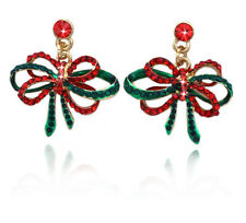 Christmas Red Green Bow Dangle Charm Stud Post Earrings Jewelry Holiday Gift