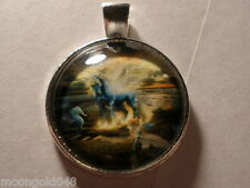 Unicorn Mermaid Sea Horse Cabochon Glass Tibet Silver Chain Pendant Necklace
