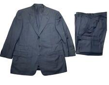 Ermenegildo Zegna Mens Navy Blue Plaid Wool Italian Classic Suit 46R