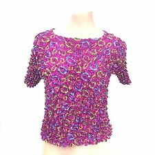 Women's Funky Artsy Hot Pink Circles Pattern Shirt Size S/M Stretchy Ruffled Top