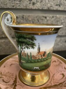 Antique KPM Brandenburg Hand Painted Museum Quality Gilt Cup And Saucer NR