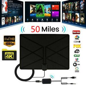 Antena TDT HDTV 25 dBi 4K interior con amplificador de antena de 50 millas