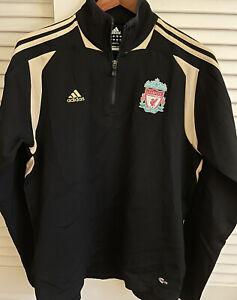 Men's Black Gold Adidas Clima365 Liverpool FC 1/4 Zip Pullover Jacket Sz Large