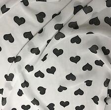 "Chiffon Fabric - Black & White Hearts 54"" by the yard"