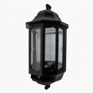 ASD Half Lantern Black Wall Light External Outdoor Polycarbonate & PIR Option