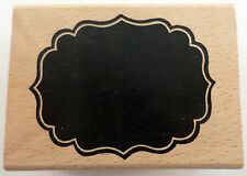 Name Plate Label Scalloped Journal Box Wooden Rubber Stamp