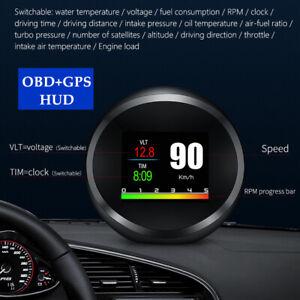 Car Head Up Device OBD+GPS OBD2 Smart Digital Fault Code Clear LCD Meter HUD