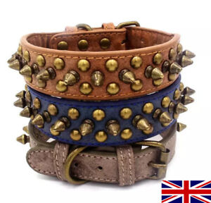 High Quality Faux Leather Dog Collar Studded Riveted Metal Buckle, XS,S,M,L,XL