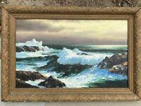 Rare Antique Early California Coast Oil Painting CA 1890s Plein Air