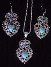 Large Silver Pendant Necklace & Earrings Set Antique Double Love Hearts Blue Gem