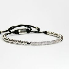 Mens And Women's Beads Bracelet Thin Plate Inlaid Zircons 24k White Gold Plating