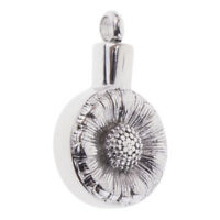 Stainless Steel Daisy Flower Round Shape Urn Pendant Pet Human Ash Urn Charm