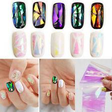 5 Color Nail Art DIY Broken Glass  Foils Finger Stencil Decal Stickers Decor Tb