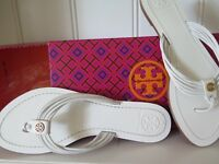 TORY BURCH Sz 6.5 White Leather Designer Sandals BRAND NEW IN BOX