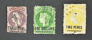 St. Helana, 3 alte Briefmarken, ab ca. 1863