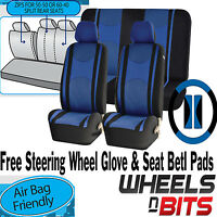 Blue Mesh Cloth Car Seat Cover Steering Glove fit Hyundai i10 i20 i30 i40 ix35