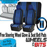 Universal Blue Car Seat Covers Steering Glove Cover Shoulder Pads 3D Mesh Cloth