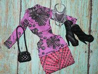 Mattel Barbie Doll Clothing Lot FASHIONISTAS DRESS BOOTS SHOES Purse Accessories
