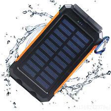 Wasserdicht 20000mAh Dual USB Solar Power Bank Ladegerät Tragbar Akku Batterie