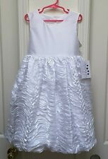 Pippa & Julie Girl's Solid White Fanciful Bubble Dress-Size-8