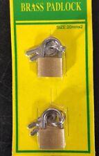 20mm Brass Padlock 2 Set With 2 Keys Luggage Suitcase Security Anti-theft Lock