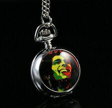 Jamaica Bob Marley RAGREA Women Ladies Gril Pocket Watch Necklace Fashion