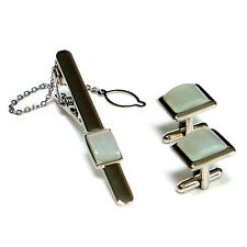 White Jade Stone Square Party Necktie Tie Clip Bar Clasp Pin Cufflinks Gift Set