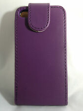 PURPLE Plain Leather Flip Case Cover with Card Slots&clip for Apple iPhone 4/4S