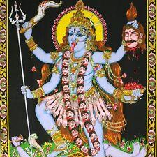 Wandbehang Bild Kali Thangka Indien Wandbild  Stoffbild ma durga om