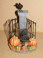 YANKEE CANDLE HALLOWEEN RAVEN CEMETERY SPOOKY GATES VOTIVE HOLDER NIB