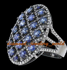 Sapphire Studded Silver Ring Jewelery Antique Finished 4.78cts Rose Cut Diamond