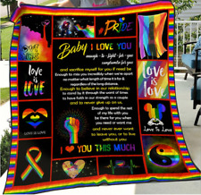 Baby I love you, Lgbt Pride, Love is Love, Fleece, Quilt Blanket Print in Usa