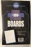 "100 Comic Book Storage Boards Regular Size 6 7/8"" X 10 1/2"" 0.24 Coated One Side"