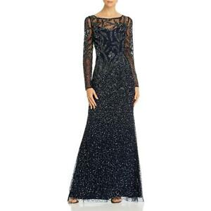 Adrianna Papell Womens Sequined Illusion Evening Formal Dress BHFO 0861