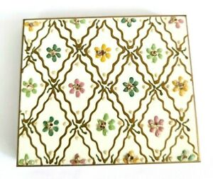 Vintage White Enameled Powder Compact with Glitter Painted Floral Design.