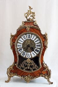 NUECHATEL BOULLE CARTEL MATQUETRY CLOCK HERMLE GERMANY  RICH ORNAMENTED