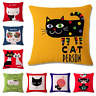CUTE CAT Cushion Covers! Funny Kitten Cartoon Art Painting Pillow 45cm Gift UK