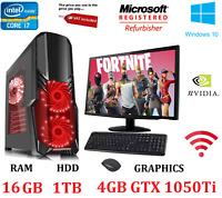 ULTRA FAST Gaming PC Bundle Intel Core i7 2600 16GB RAM 1TB HDD 4GB GTX 1050 Ti