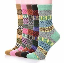 Women Casual Warm Rabbit Wool Crew Autumn Winter Socks Thick Knit Soft 5 Pairs
