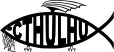 "CTHULHU FISH MEME Vinyl Decal Sticker-6"" Wide White Color"