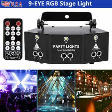 Remote 9-Eye RGB LED Laser Projector Light DMX Scan Strobe DJ Stage Lights US