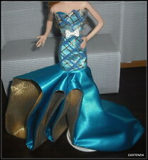 DRESS BARBIE 50TH BIRTHDAY MODEL MUSE DOLL  BLUE GOLD PLAID ACCENT GOWN DRESS