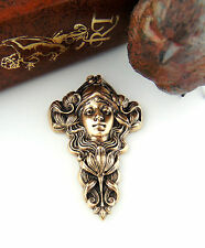 ANTIQUE BRASS Flower Girl Nymph Fairy Woman Stamping Oxizided Findings (C-204)