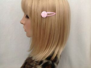 Pastel pink gingham print fabric button hair snap clip girls pin up vintage cute
