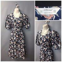 St Michael M&S Navy Floral Midi Vintage Dress UK 16 EUR 44 Made in UK