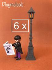 LOTE 6 FAROLAS CUSTOM STREET LAMP LAMPADAIRE VICTORIANA - PLAYMOBIL NO INCLUIDO